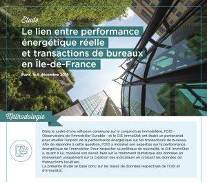Etude : Le lien entre performance énergétique réelle et transactions de bureaux en Île-de-France